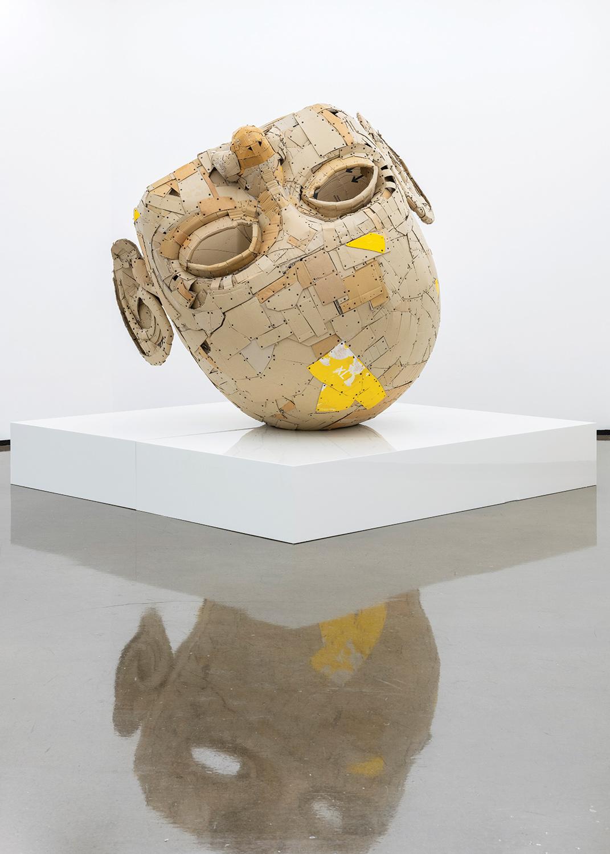 Upside down sculpture of a head