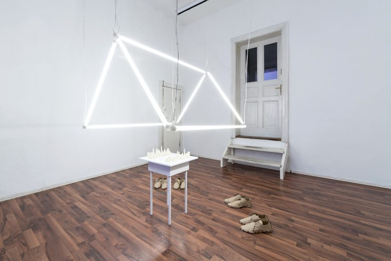 Light installation and shoes