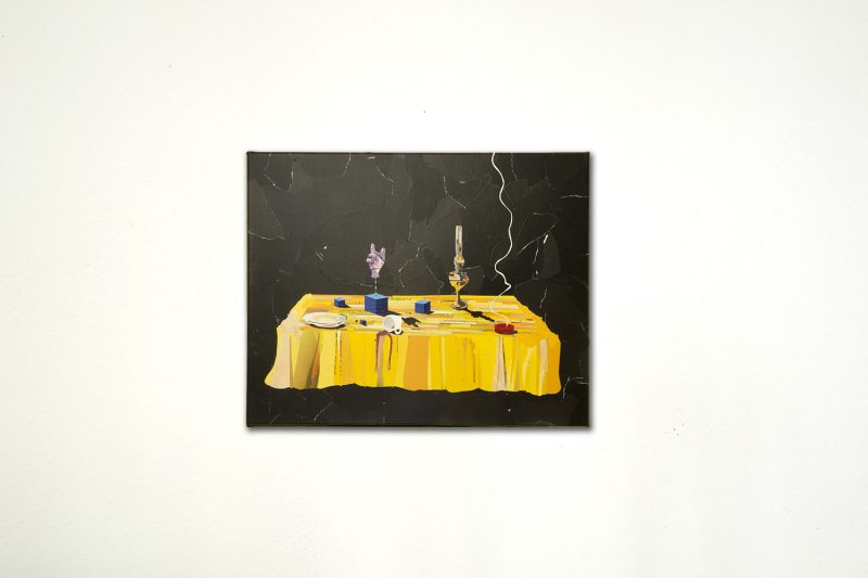 Black collage with table
