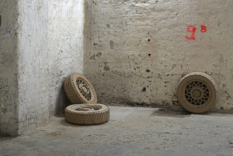 Cardboard - sculpture - Three- Tires