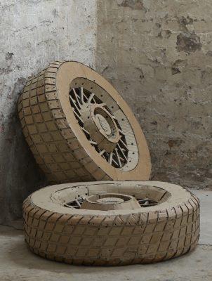 Cardboard - sculpture - close up - Tires